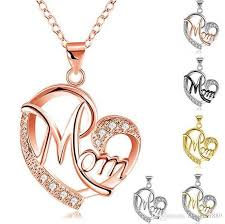 whole new contrast color crystal heart mom necklace pendant diamond fashion love mom jewelry mother birthday day gift will and sandy drop ship necklaces