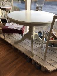 stunning up cycled round pedestal dining table in autentico chalk paint