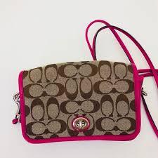 Coach signature khaki and raspberry crossbody bag