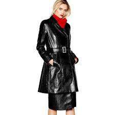 studio by preen coats women black vinyl trench coat