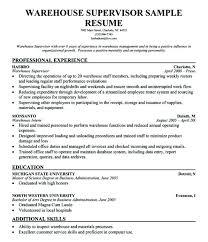 Resume For Supervisor Position Sample Elim