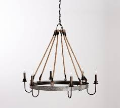 pottery barn napa wine barrel metal and rope chandelier