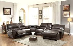 power reclining sectional sofa recliner sectional with table console in center nevio leather fabric power reclining