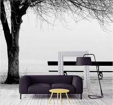 Modern Living Room Wallpaper Modern Living Room Wallpapers Simple Black And White Tree Bench