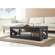 Living Room Black Wooden Table With Rustic Design And Open Shelf