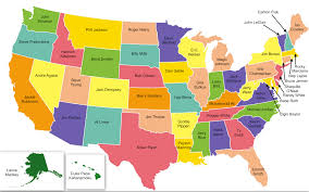 us map with full names political map of united states colors