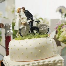 A Kiss Above Bicycle Bride And Groom Couple Figurine Cake Topper