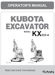 Kubota Kx033 4 Excavator Operators Manual
