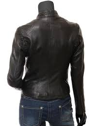 alicia black genuine leather jacket womens