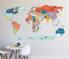 world map interactive map wall decal zoom