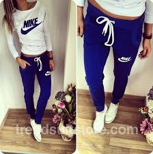 nike outfits. #pants #shirt #nike stylish women\u0027s navy blue and milky sweatsuit nike outfits