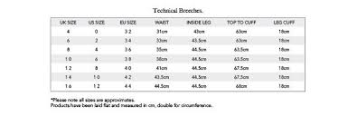 Breeches Size Chart Sizing Guide Aztec Diamond Equestrian Uk Limited