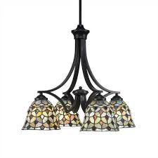 zilo matte black four light chandelier with crescent tiffany glass