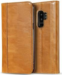 procase galaxy s9 plus genuine leather case vintage wallet folding flip case