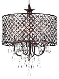 crystal drum shade chandelier silver mist