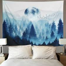 horror gothic red forest tapestry wall