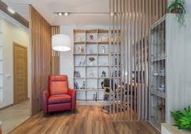 slatted wood room divider ideas