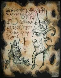 chaos realm cthulhu necronomicon page occult horror witchcraft