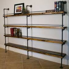 Shelving - Industrial Pipe Shelving With Bottle Stop Bars