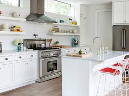 transitional kitchen white cabinets wooden panels open shelving granite countertops modern chairs