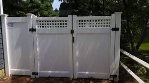 vinyl fence double gate. Square Lattice Double Gate Vinyl Fence