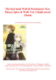 Spice And Wolf Light Novel Epub The Best Book Wolf Parchment New Theory Spice Wolf Vol