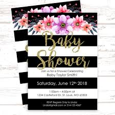How To Create Invitations In Word Diy Baby Shower Sprinkle Invitation W Free Facebook Event Graphic Black White Striped Flower Invite Instant Download Microsoft Word Template