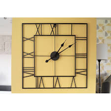 large square metal black skeleton wall clock 60cm roman numerals jpg