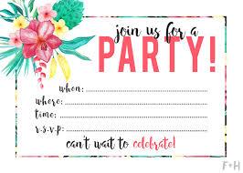 Free Printable Tropical Party Invitation Fox Hazel