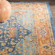 t austin design battista blue and orange rug for oushak rugs