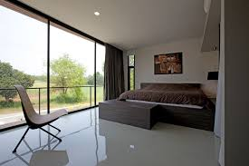 Fantastic Modern Master Bedroom Decor With Large Brown Bed Added Open Views  Large Floor To Ceiling Windows For Open Views Bedroom Designs