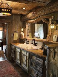 western bathroom designs. Love Everything About This Bathroom! Cast Iron Sink, Wood Slab Countertop, And Birch Bark Covered Doors Drawer Fronts Give Vanity A Delightfully Western Bathroom Designs T