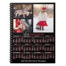 Monthly Calendar Notebook 2019 Year Monthly Calendar Black Custom 3 Photos Notebook