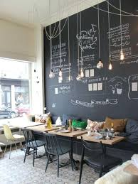coffee shop decor furniture modern and cheerful with a chalkboard wall  hanging bulbs images
