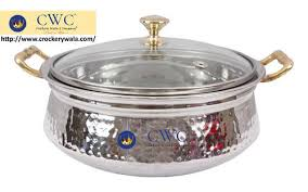 stainless steel serving handi bowl with glass lid 425 ml