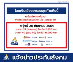28 ก.ย.ประกันสังคมโอนเงินเยียวยา ม.40 รับ 10,000 เช็คไทม์ไลน์