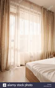 Hotel Interieur Lange Beige Vorhänge Und Gardinen Tüll Sheers Auf
