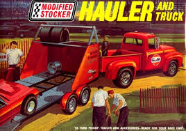 1953 Ford Pickup with Race Car Hauler (1/25) (fs)