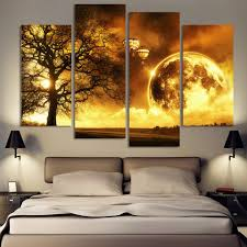 Painting Canvas For Living Room Aliexpresscom Buy 4 Panel Ancient Tree Printed Universe Space