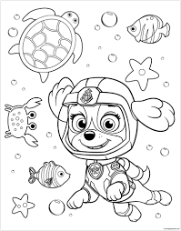 Paw Patrol Rubble Underwater 2 Coloring Page Free Coloring Pages