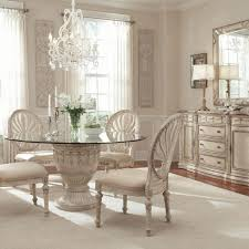 dining room french country table white wooden glass frame window single leg without chairs top
