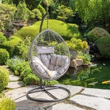 outdoor hanging furniture. layla outdoor wicker hanging basket chair with cushions by christopher knight home furniture