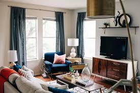 west elm colorful mid century austin living room