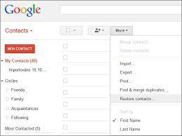 restoring contacts on my google account