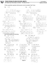 quadratic equations practice 5 4 factoring quadratic expressions worksheet answers by avid 12 algebra 2 algebra 1a with