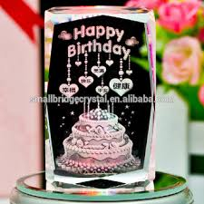 Hot Sale Happy Birthday Cake 3d Laser Photo Cube Crystal Cube