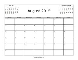 Printable Appointment Calendar 2015 August 2015 Calendar Free Printable Allfreeprintable Com
