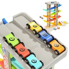 6 car ramps wooden ramp racer for kids top bright toys with 6 wood racing car
