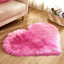 2019 faux wool carpets for living room heart shape pink red gray area rug soft kids bedroom fur rugs home doormat floor carpet area rugs carpet