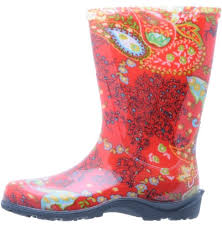 Sloggers Womens Waterproof Rain And Garden Boot With Comfort Insole Paisley Red Size 9 Style 5004rd09